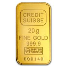 20 gram Statue of Liberty Credit Suisse Gold Bar .9999 Fine - L32461