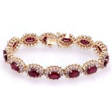 Ruby 18.40 ctw & Diamond Bracelet 14kt White/Yellow Gold - L11991