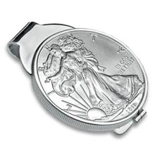 Sterling Silver Polished Coin Money Clip - 40.6mm - L26221