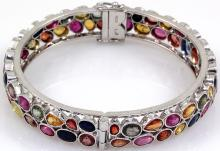 Semi-Precious Bangle Bracelet Rainbow 92.5 Sterling Silver 36 Grams, Diam: 2 1/4in. - L19523