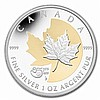 2013 1 oz Silver Canadian-25th Anniv. of the Silver Maple -Gilded - L22731