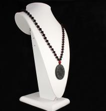 Jade Chinese Bagua Necklace with Black Agate Beads - L23344