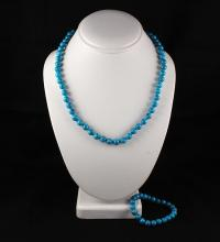 Plain and Simple Turquoise Set Necklace and Bracelet - L23251