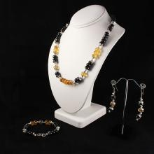 Beautiful Set of Natural Black Onyx and Citrine Necklace, Bracelet and Earring in Sterling Silver Setting, 742ctw - L32992