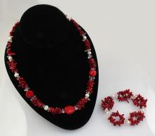 RED TURQUOISE&CORAL 306.36CTW NECKLACE&BREACELET SET - L22343
