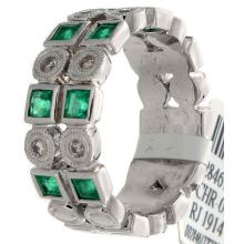 14K White Gold 0.87ctw Emerald & Diamond Ring - L32812