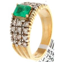 18K Yellow Gold 1.77ctw Emerald & Diamond Ring - L32556