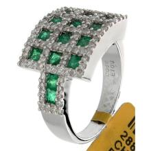 18K White Gold 1.95ctw Emerald & Diamond Ring - L32843