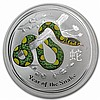 2013 1 oz Australian Silver Year of the Snake Colorized Coin - L24984