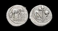 Ancient Roman Republican Coins - Julius Caesar - Elephant and Sacrificial Implements Denarius