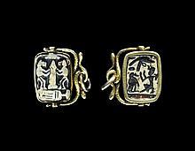 Egyptian Steatite Plaque with Pharaoh in Gold Swivel Pendant