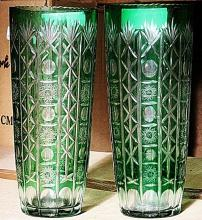 (PAIR) Green Turkey Crystal Vase