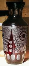 Large Red Turkey Crystal Vase