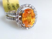 18k White Gold 3.63ct Orange Sapphire and Diamond Ring