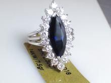 14k White Gold 2.3ct Dark Blue Sapphire and Diamond Ring