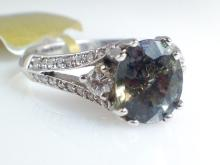 18k White Gold 2.1ct Purple-Green Sapphire and Diamond Ring