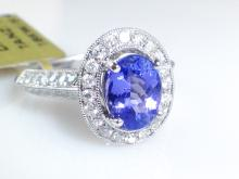 18k White Gold 1.27ct Tanzanite and Diamond Ring