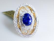 18k White and Yellow Gold 3.27ct Blue Sapphire and Diamond Ring