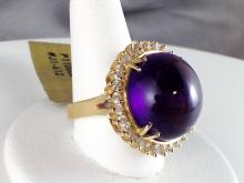 14k Yellow Gold 19.4ct Amethyst and Diamond Ring