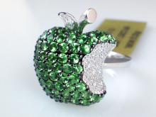 18k White Gold 1.53ct Tsavorite Garnet and Diamond Ring