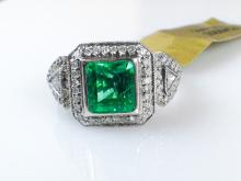 18k White Gold 1.97ct Emerald and Diamond Ring