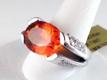 18k White Gold 7.83ct Spessartite Garnet and Diamond Ring