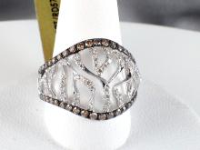 14k White Gold 0.43ct Fancy Brown Diamond and Diamond Ring