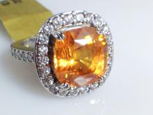 18k White Gold 9.17ct Orange Sapphire and Diamond Ring