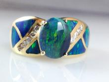 14k Yellow Gold 0.88ct Opal and Diamond Ring