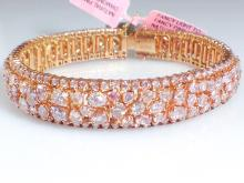 18k Rose Gold 17.33ct GIA Certified Natural Fancy Pink Diamond Bracelet