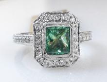 18k White Gold 1.02ct Fancy Treated Greenish-Blue Diamond and Diamond Ring