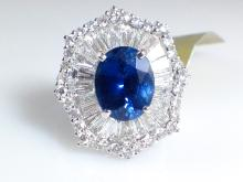 18k White Gold 3.13ct Blue Sapphire and Diamond Ring