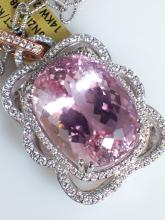 14k White and Rose Gold 48.5ct Kunzite and Diamond Pendant