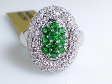 14k White Gold 0.7ct Tsavorite Garnet and Diamond Ring