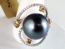 18k White Gold 12.07mm Tahitian Pearl, Fancy Diamond and Diamond Ring