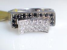 14k White Gold 0.11ct Black Diamond and Diamond Ring