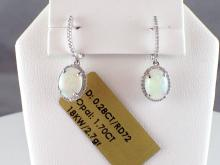 18k White Gold 1.7ct Crystal Opal and Diamond Earrings