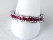 14k White Gold 1.23ct Ruby and Diamond Ring