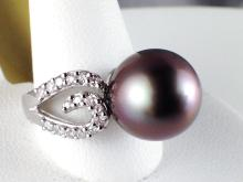 Platinum 12mm Black Pearl and Diamond Ring