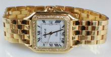 14k Yellow Gold Geneve Men's Diamond Watch
