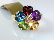 14k Yellow Gold 5ct Multi-Colored Semi-Precious Gemstone and Diamond Ring