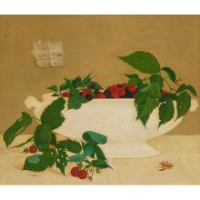 John Henry Wilde, (American, 1919-2006), Still Life with Red and Black Raspberries, 1950, oil on panel, 13.5