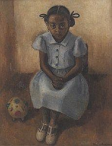 Edna Wolff (Henner) Maschgan (American, 1907-2001), 'Girl with Piggy Bank', c. 1940; oil/canvas, 38in. x 30in, signed. Maschgan studied at the Art Institute of Chicago, and with Diego Rivera in Mexico in the late 1920s. She worked as a WPA artist,