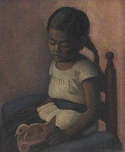 Edna Wolff (Henner) Maschgan (American, 1907-2001), 'Young Mexican Girl with Toy Duck', c. 1940; oil/canvas laid down on board, 24in. x 20in, signed.
