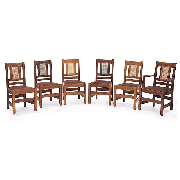 Stickley Brothers dining chairs, 6, #385 & #385