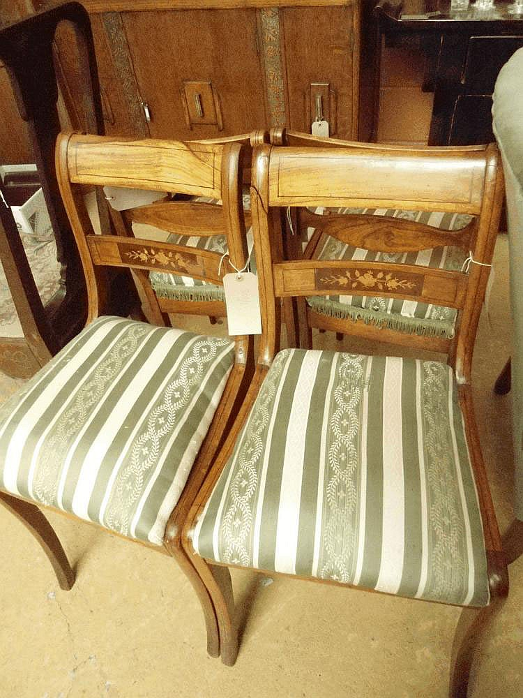 4 matching regency style mahogany dining chairs