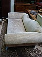 A chaise longue, upholstered in grey chenille,