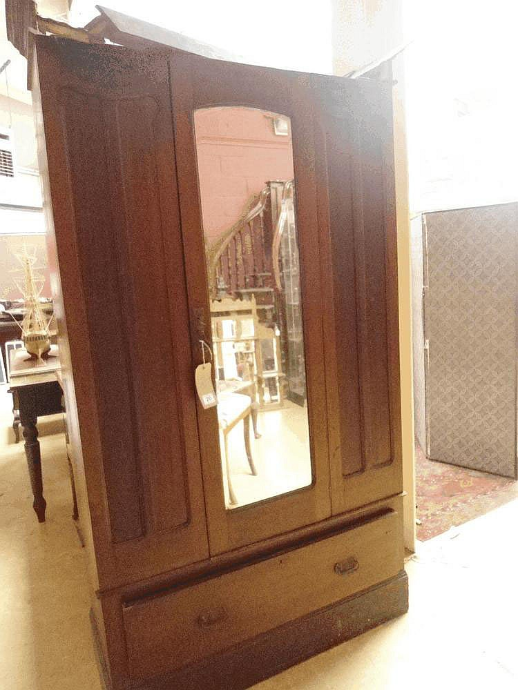 Art Nouveau walnut wardrobe