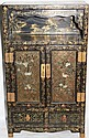 DECORATED EBONIZED SMALL CABINET,