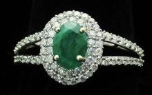 $3,966 GG GIA APP.  Emerald & Diamond Ring